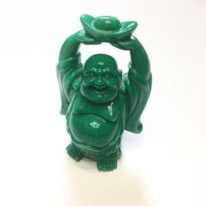 Green Laughing Buddha Holding Bowl Of Abundance